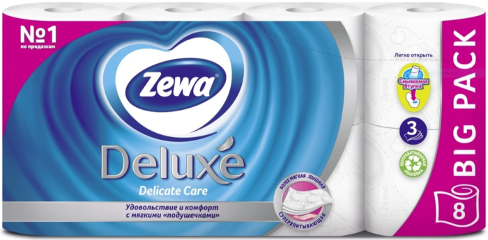 Туалетная бумага Zewa Deluxe, 3 слоя
