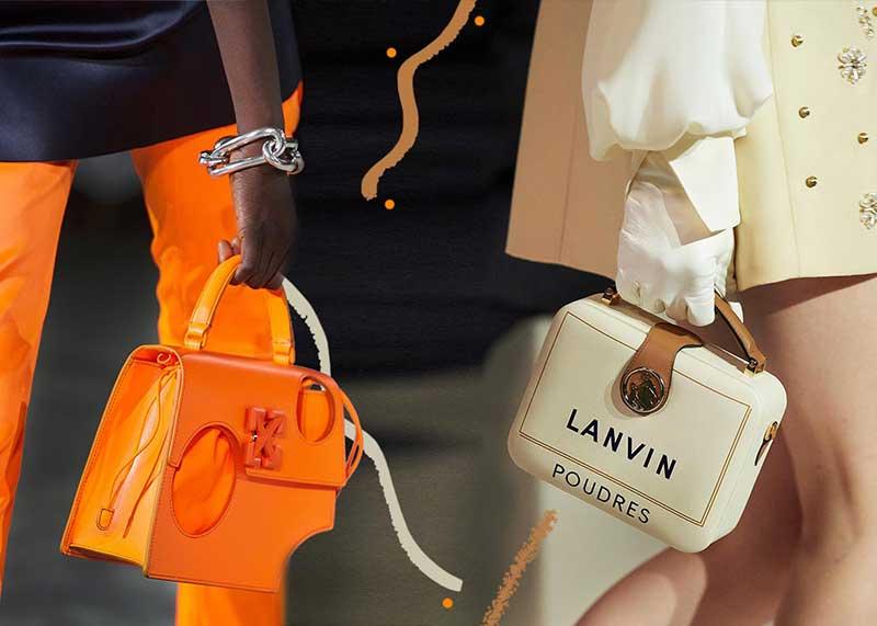 Дамские сумочки именитых брендов в руках моделей во время показа