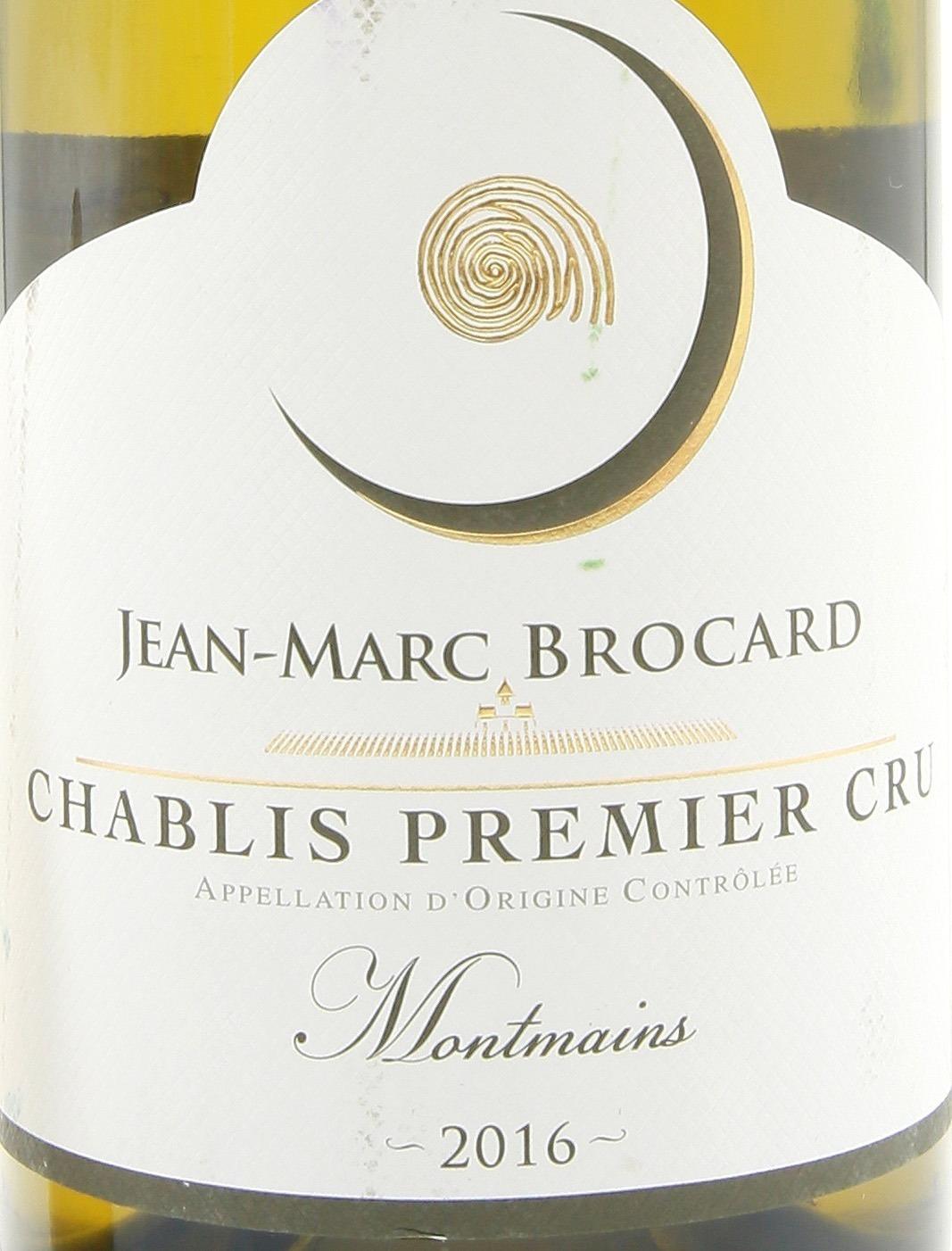 "Jean-Marc Brocard, Chablis Premier Cru AOC ""Montmains""этикетка"